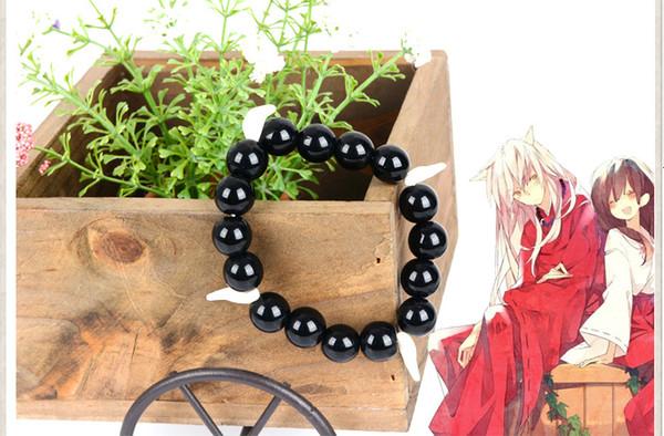 Anime Inuyasha Cosplay Bracelet Wolf Tooth Kikyou Jewelry Black Bead Charm Bracelett pendants Accessories Gift