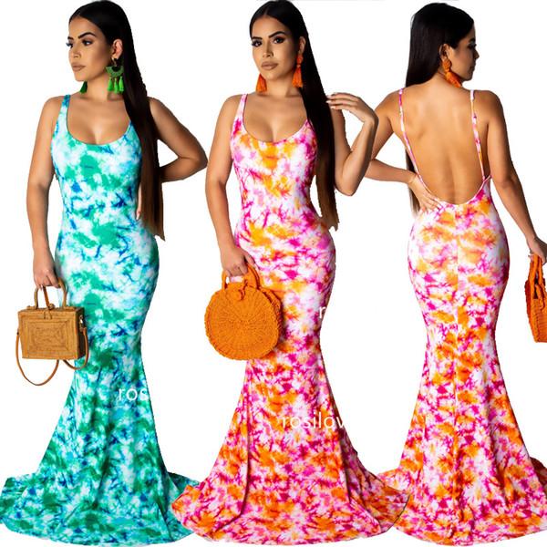 2019 moda verão Vestido apertado Sexy halter dress Andar de comprimento fishtail saia slip dress Vestidos impressos apertados