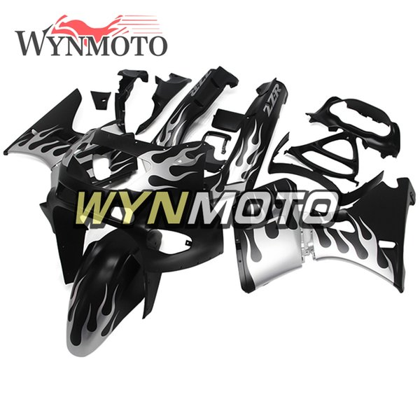 Matte Silver Black ABS Plastic Injection Motorcycle Full Fairings For Kawasaki ZZR400 1993 - 1997 NINJA ZZR-400 93 94 95 96 97 Cowlings Hull