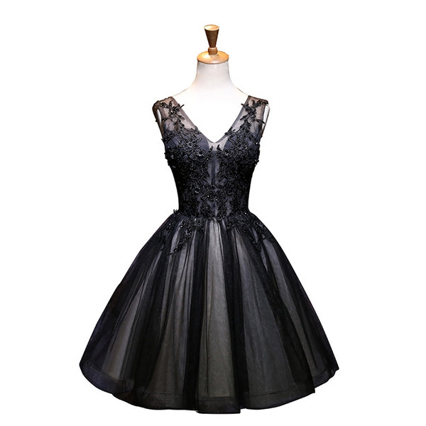 Black V Neck Tulle Robe Cocktail Dresses with Lace Appliques 2020 Knee Length Party Dress sukienki koktajlowe