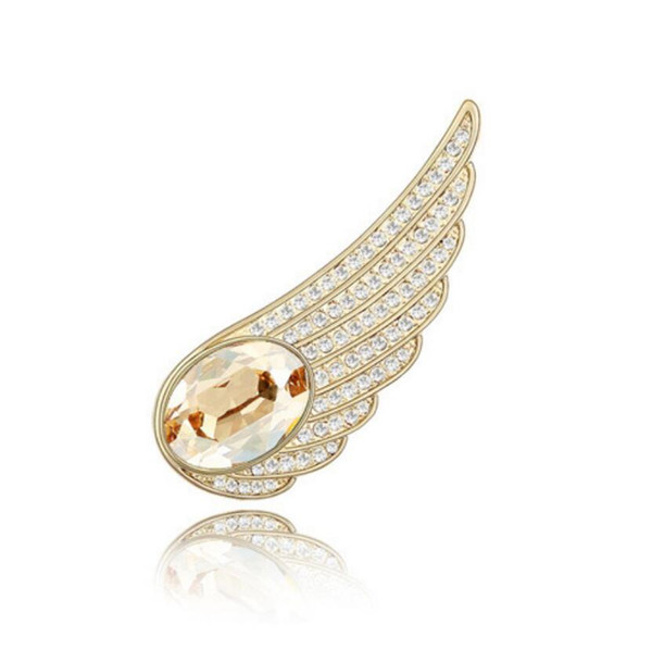 Free shipping fashion jewelry Restoring ancient ways Ornaments Using Swarovski Elemental Crystal Brooch Angel wings High-end OL clothing pin