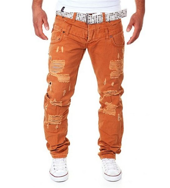 2019 Men's high-grade Fashion Jeans cotton Hip-hop Style Casual Hole Ripped Male pants comfortable spring autumn pants
