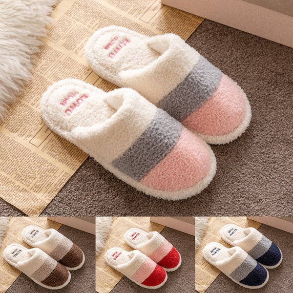 best selling Women's Mens Couples Mixed Colors Warm Non-slip Floor Home Slippers Indoor Shoes