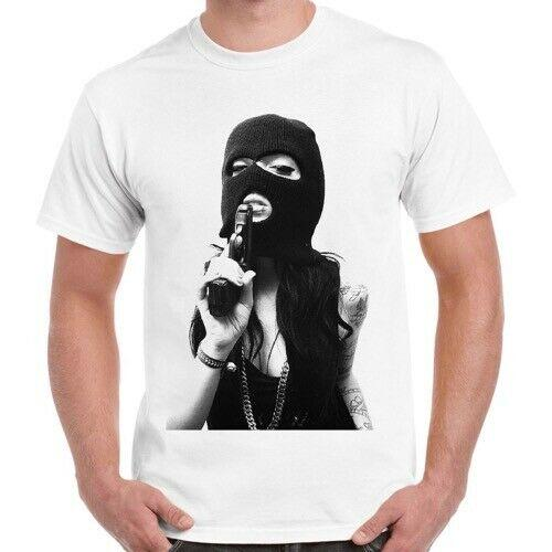 Tattoo Girl Gun Novelty Men Women Unisex Retro T Shirt 695