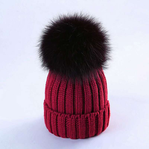 Children's Autumn-Winter Korean Edition Warm Boys And Girls Infant Knitted Wool And Furry Hat Baby Hair Big Hair Ball Tide