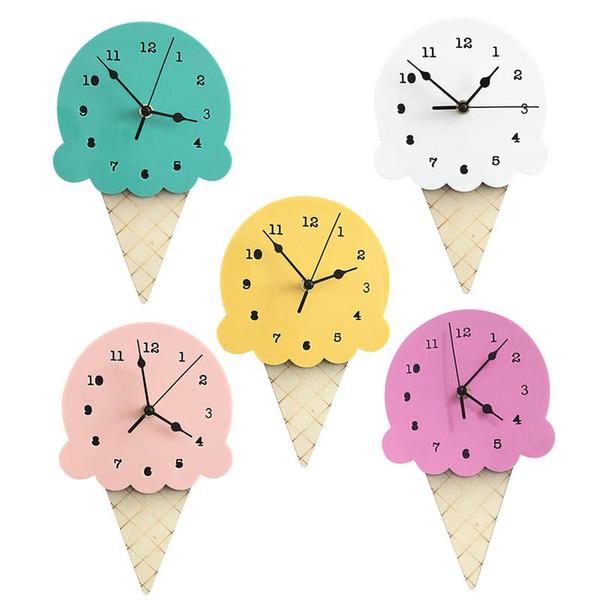 Ice Cream Silent Clock Cartoon Nuova decorazione della casa Decorazione della parete Orologio per la decorazione della casa Camera dei bambini Ornamenti del fumetto