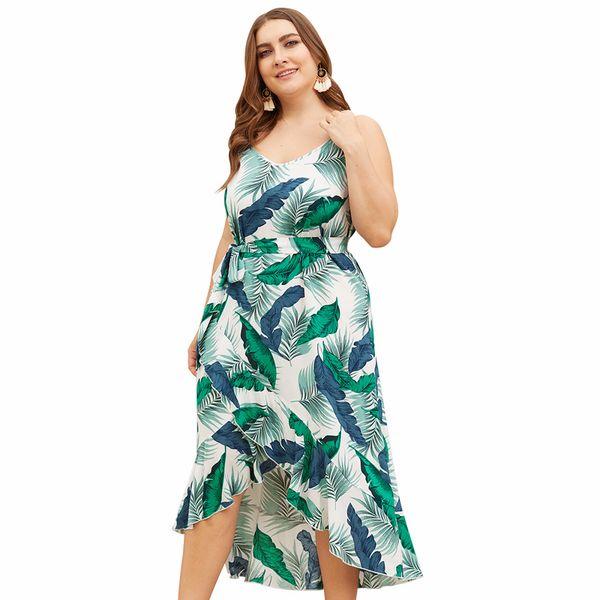 Women Dress Plus Size Bohemian Style Sleeveless V Neck Spaghetti Strap  Ruffled Print Belt Waist Large Size Midi Dress Vestidos Affordable Evening  ...