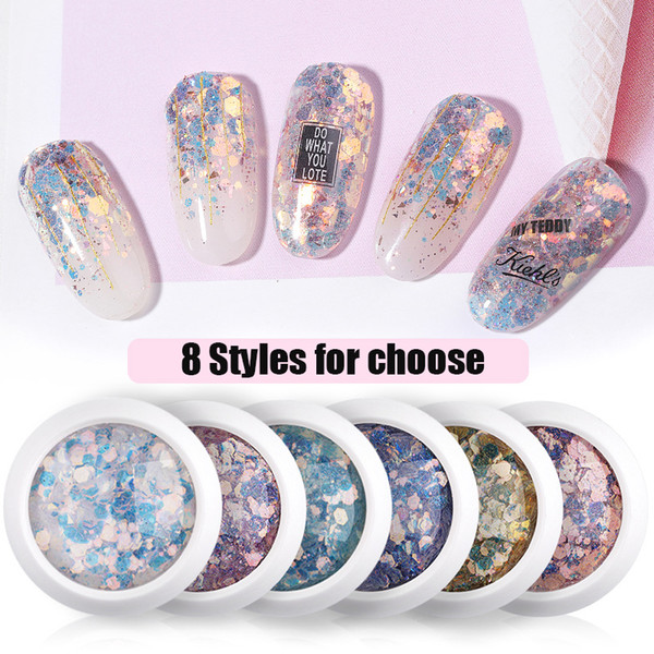 top popular Nail Mermaid Glitter Flakes Sparkly 3D Hexagon Colorful Sequins Spangles Polish Manicure Nails Art Decorations 8 styles 2021
