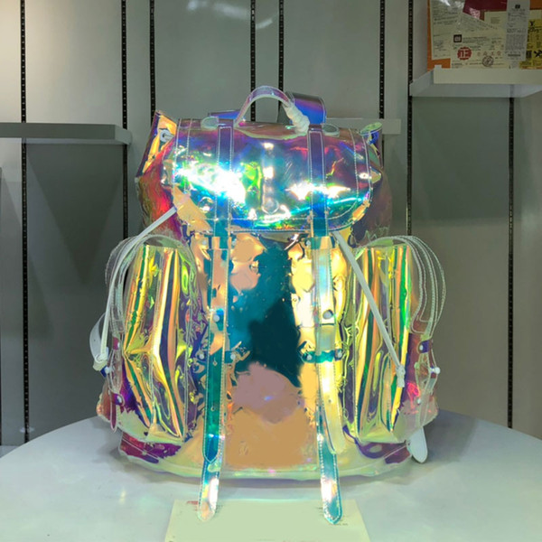 top popular Backpack PVC Bags Handbags Purses Fashion Big Backpack Colorful Christopher Printed PVC Material Clear Letter High Quality 2020