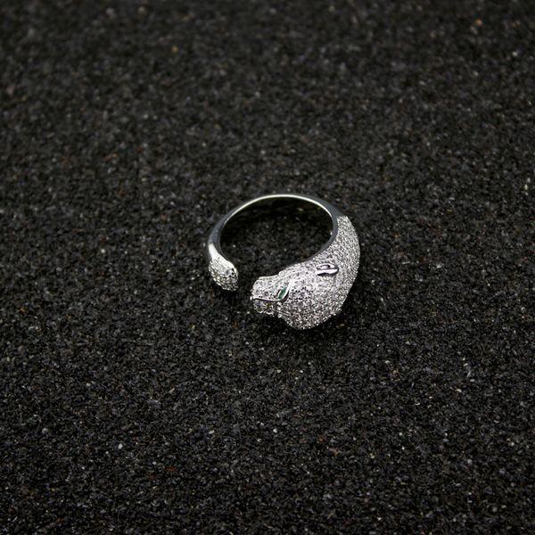 Women Diamond Leopard Rings Luxury Designer Jewelry Sterling Silver Open Ring Valentine's Day Fine Jewelry Free Size