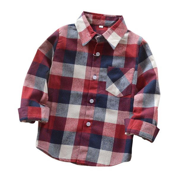 Fashion Autumn Boys Shirts For Girl Plaid Long Sleeve Turn-down Collar Teenager Tops Cotton Children Clothing Kids Clothes Shirt Cotton Children Clothing Kids Clothes Shirt