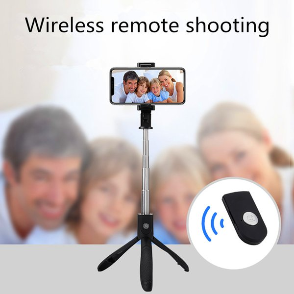 Wireless self-timer telescopic pole mobile phone live broadcast tripod fixed self-timer pole mobile phone Bluetooth self-timer pole
