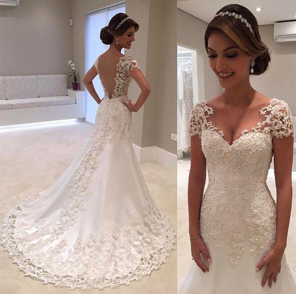 Romántico de manga corta de encaje apliques vestido de novia sexy sirena fuera del hombro barrido tren jardín vestido de novia por encargo más tamaño
