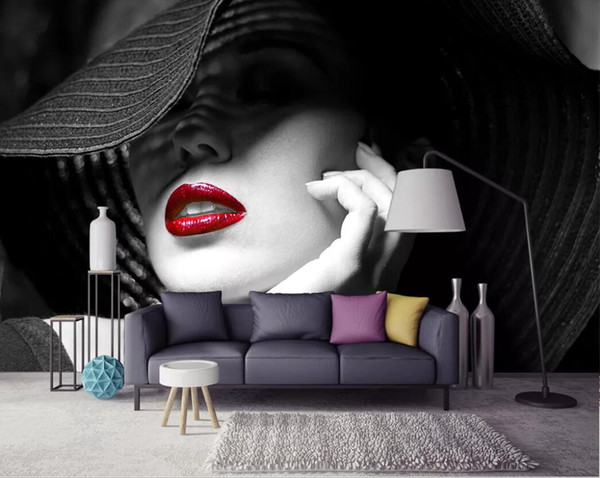 3d room wallpaper custom photo mural Black and white contrast color red lips modern minimalist fashion background wallpaper for walls 3 d