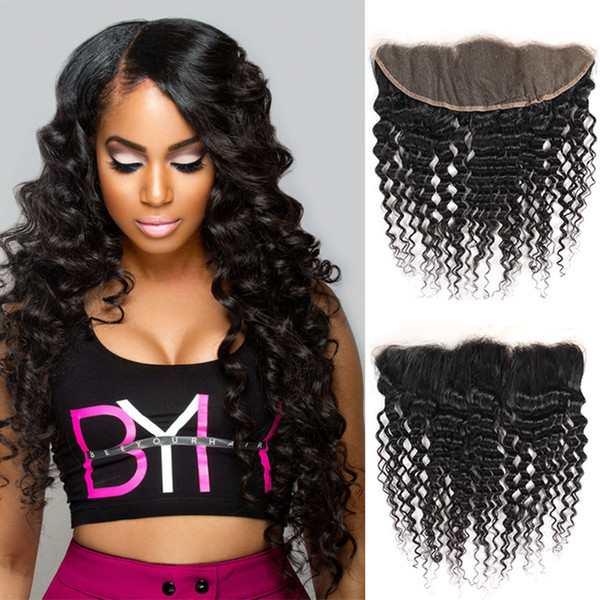Wig accessories real hair deep wave 13*4 lace frontal wholesale Brazilian real hair bundle lace curtain black curls 100% real virgin hair