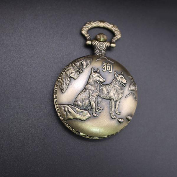 Cadena de metal Reloj de bolsillo de zodíaco de cuarzo Unisex Portátil Automático Vintage Clásico Claro