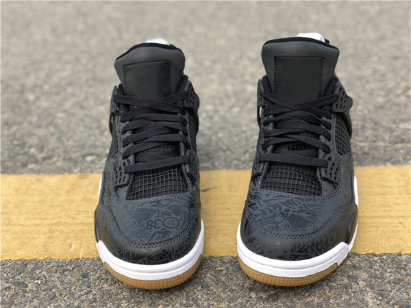 2019 Best Air Authentic 4 SE Laser Black Gum Basketball Shoes Mens Sneakers Black White Gum Light Brown Sports CI1184-001 With Original Box