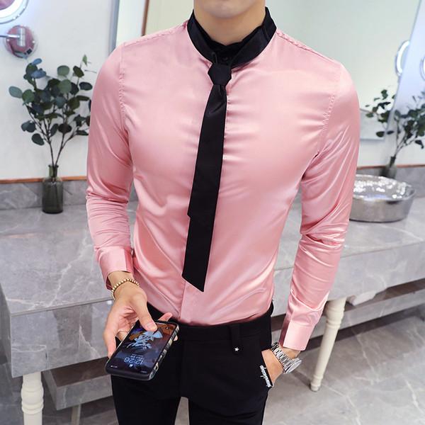 Solid Satin Tuxedo Shirt Men 2018 Autumn Long Sleeve Tie Wedding White Pink Shirt Men Camisa Social Masculina Party Prom