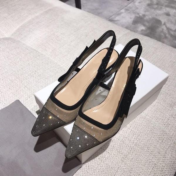 Clássico Verão 2019 Designer de Luxo Marca Calçados Femininos de Moda de Nova Couro Malha Sexy Transparente vestido de festa Sandals remoção de ervas daninhas