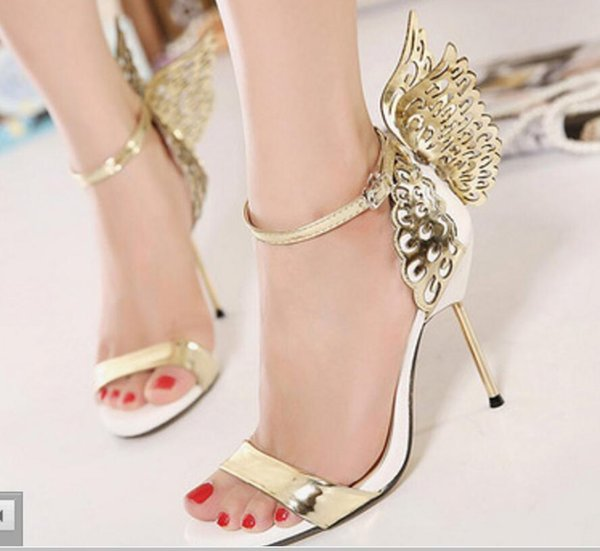 Summer Sophia Vampire Diaries fantasy butterfly wing Women's high heel sandals gold silver party dress wedding Night club shoes size 35-40
