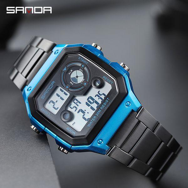 Montres en or pour hommes en acier inoxydable Sports Digital Watches Mode étanche compte à rebours Horloge Relogio Masculino