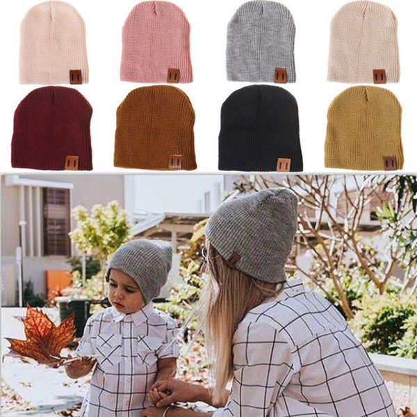 Brand 2019 Men Women Family Cap Matching Winter Baby Kids Dad Mom Knitted Crochet Beanie Warm Hat