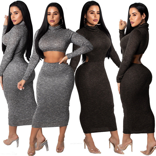 Long Sleeve Casual Package Hip Dress Women Black High-Necked Hollow Bandage Dress Autumn Winter Grey Slim Fit Maxi Dress NZK-1657