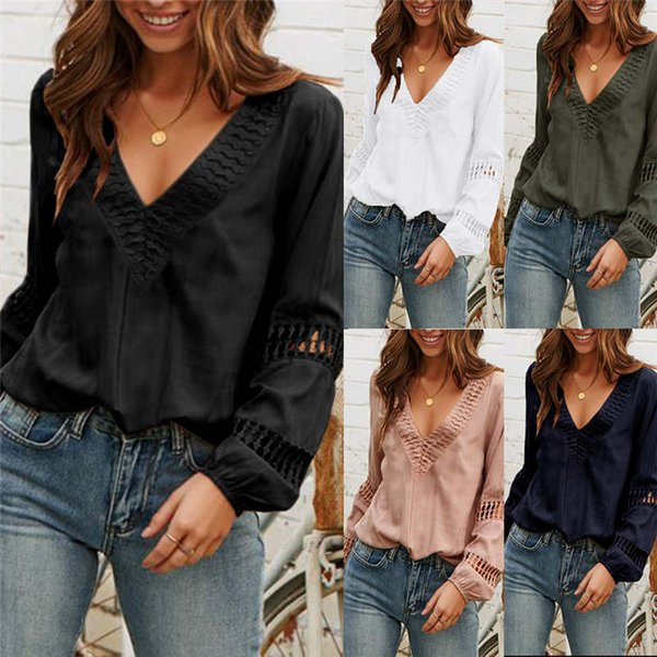 Womens fashion casual long sleeve shirts sexy Low V-neck Blouse shirt Lace breathable autumn Loose shirts Women's Blouses