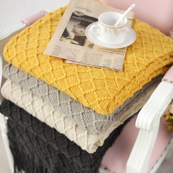 Knitted Throw Travel Blanket Grey Yellow Black Grey Sofa Throw Blanket Tassels Air Condition Blanket Diamond Acrylic 130x170cm