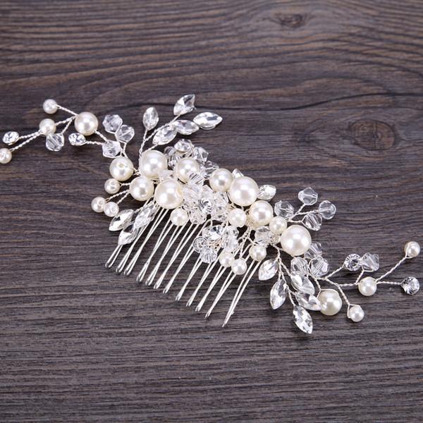 Wedding Bridal Bridesmaid Combs Tiaras Silver Handmade Rhinestone Pearl Headbands Luxury Hair Accessories Headpiece Tiara Jewelries Z04