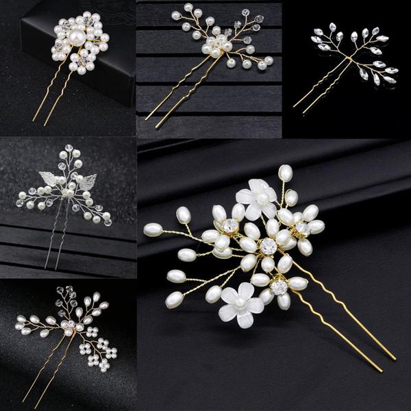 Balo Gelin Gelinlik Saç Aksesuarları İnci Saç Pin Klip Metal Altın Lüks Kristal Rhinestones Düğün Tokalar Saç Sopa