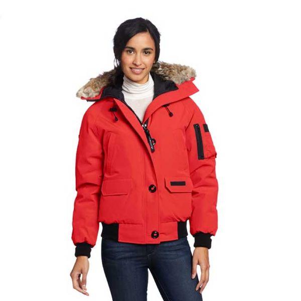 Winter High quatily mujeres engrosamiento de la chaqueta Corto down parkas 100% de cuello de piel de mapache real capucha abajo abrigo Negro / Rojo Color
