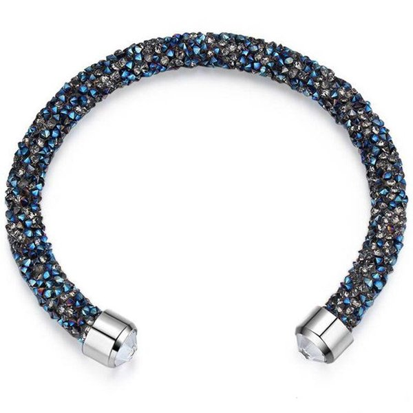 Made With Crystals from Swarovski Elements Rolled Rocks Cuff Bangle Womens Bracelet Jewelry Fashion Female Birthday Gift K2629