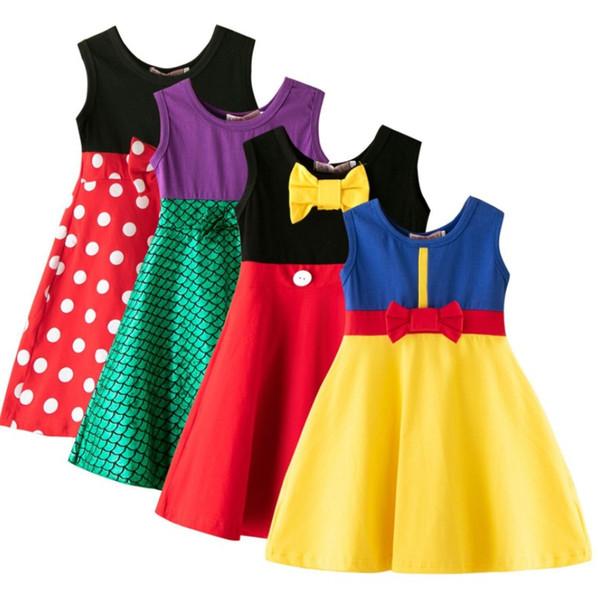 Little girls princess dress summer baby girl tank skirts children cartoon cotton Casual Clothes Kid Trip Frocks Party Costume B11