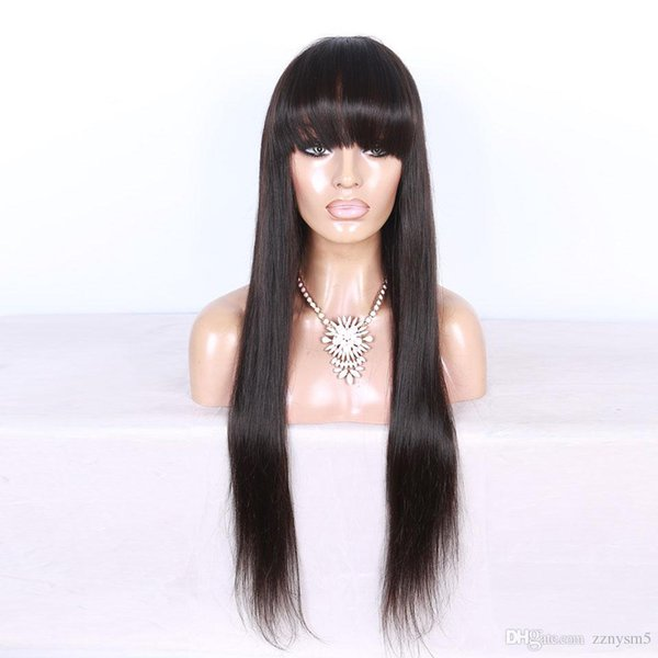 Human Hair Wig With Bangs For Black Women Glueless Peruvian Remy Hair Pre Plucked Long Straight Full Lace Front Human Hair Wigs
