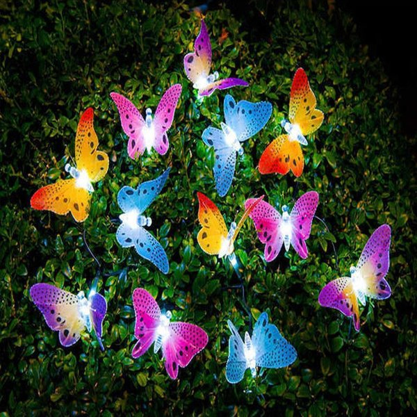 New 12 Led Solar Powered Butterfly Fiber Optic Fairy String Waterproof Christmas Outdoor Garden Holiday Lights