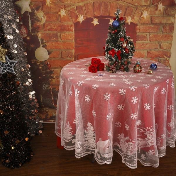 Hochzeit Weihnachten Tischdecke Schneeflocke Elch Spitze Tischdecke Glasabdeckung Polyester Weihnachten Raum Hochzeitsdekor D19010902