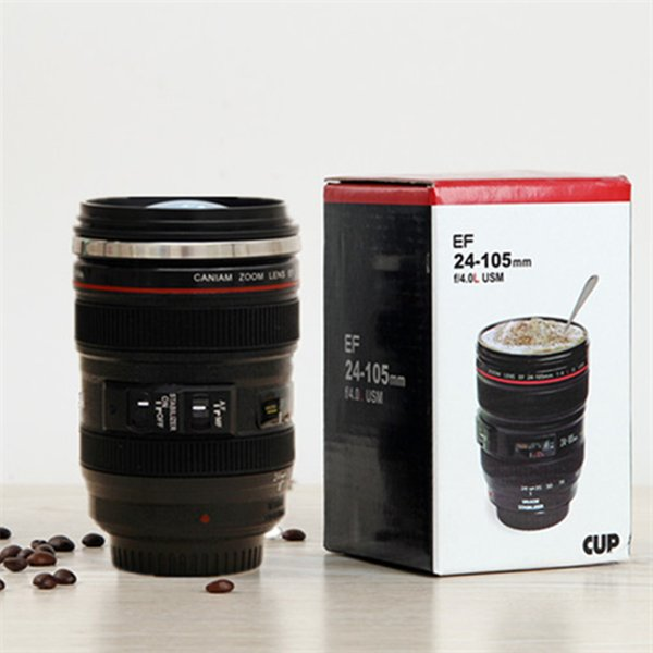 Free Shipping 60pcs 6th Generation stainless steel liner travel thermal Coffee camera lens mug cup with hood lid 480ml 340g