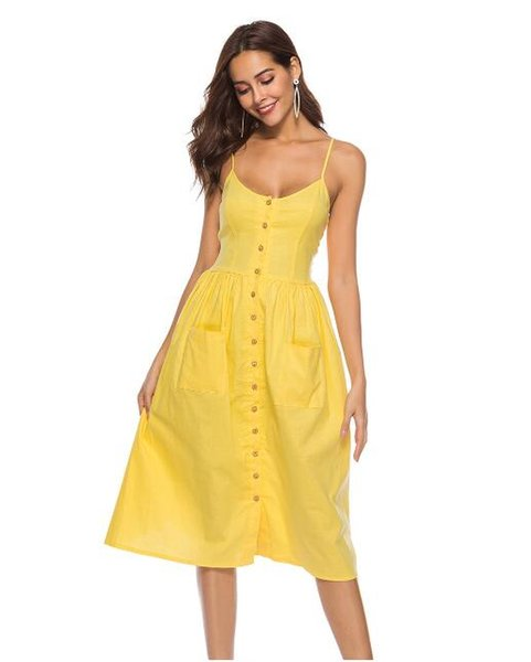 JYM fashion women's Dresses sweetness and simplicity Pocket halter skirt summer dresses yellow coral
