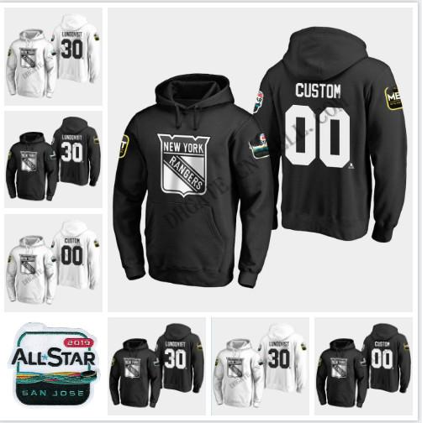 30 Henrik Lundqvist New York Rangers 2019 All-Star Jogo Moletom Com Capuz 93 Mika Zibanejad 20 Chris Kreider 13 Kevin Hayes 36 Jaqueta de Mats Zuccarello