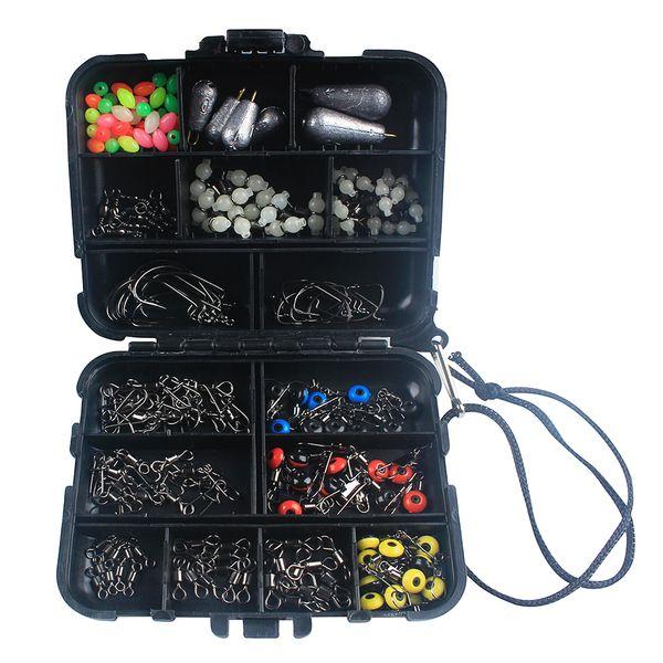 177pcs Fishing Accessories Kit Crank Hooks Sinker Weights Swivels Snaps Connectors  Fishing Tackle Box Set