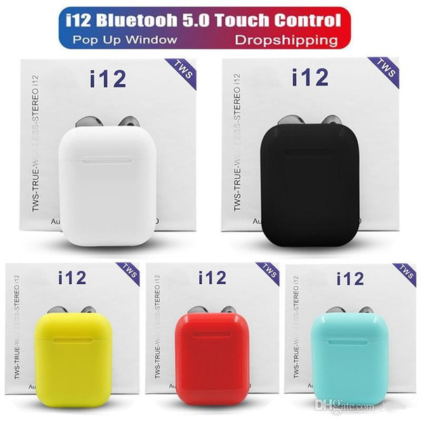 i12 tws bluetooth 5.0 wireless bluetooth headphones support pop up window Earphones colorful touch control wireless headset earbuds hot sale