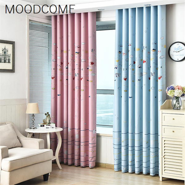 Cartoon Fish Printing Curtains For Children Baby Room Living Dining Room Bedroom Blackout Blue Sea Pink Curtains for Decoration