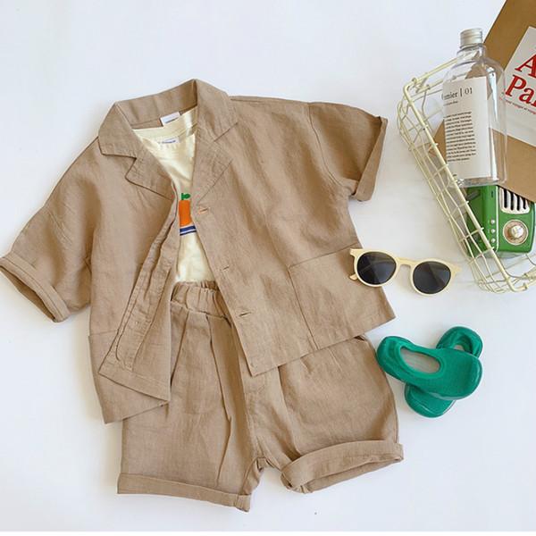 Sommerbabyart- und weisekleidung stellt 2pcs Klagenkindbaumwollleinen-Kurzschlusshülsenhemd und Kurzschlusskind-Kleidungsklagen ein