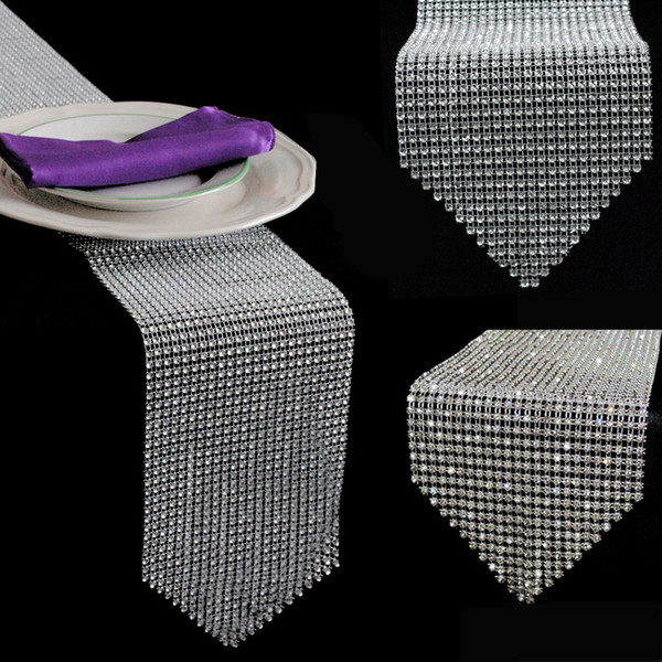 """top popular New 12*275CM (4.6"""" X 108"""") Diamond Table Runner Mesh Rhinestone Table Runner Wedding Party Decorations Home Accessories 2021"""