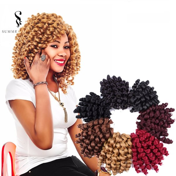 Jamaican Bounce Curly Hair Jumpy Wand Curl Twist Crochet Braids Hair Extensions Synthetic Braiding Hairstyles for African Women