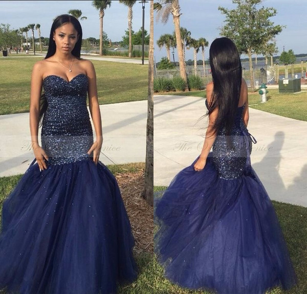 Heavy Beaded Crystal Navy Blue Prom Dresses Bling Puffy Mermaid Evening Dress Long Sweetheart Plus Size Women Party Gowns