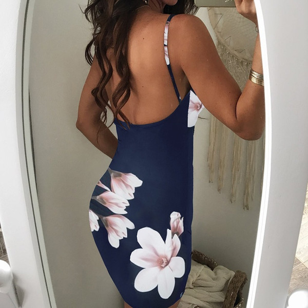 China Factory Womens dresses Summer Sleeveless Sexy Backless Printed flower deep V neck Sling Slim Fit Leisure bodycon Mini Dress