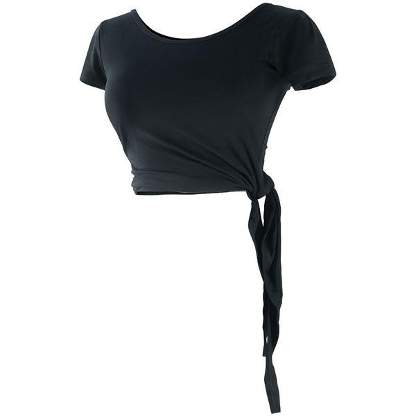 Women Yoga Top Short Sleeve Shirt Sport Fitness Shirt Girls T Black Dance Clothes Gym Top Gymnastic Wear #340046