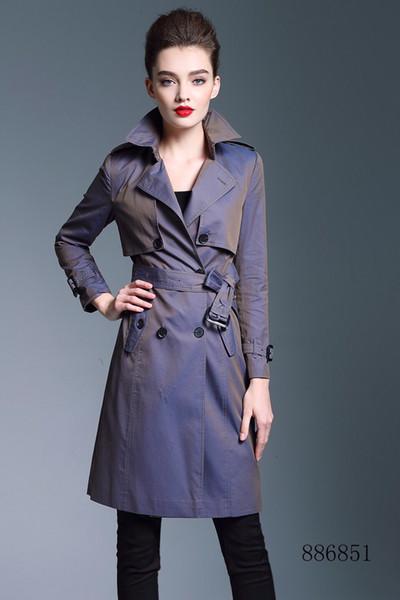 Kadın rüzgarlık uzun trençkot kruvaze kemer trençkot düz renk ince rüzgarlık su geçirmez İngiliz rüzgar ceket